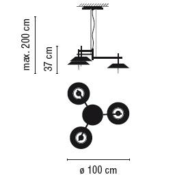 ø 100 cm x H 37 cm; Hmax 200 cm