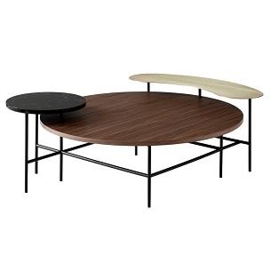 Palette Table JH25_ latón, mármol Nero Marquina, nogal_ 118 x 103 x H 42 cm