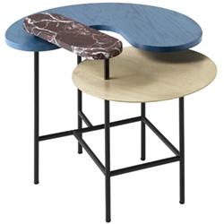 Palette Table JH8_ latón, mármol rosso Levanto, fresno azul_ 66,3 x 54,9 x H 57 cm