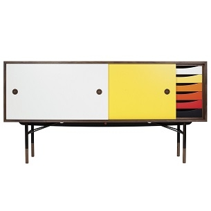 Yellow/white; with chest of drawers