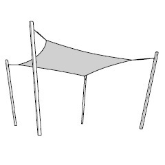 Square sunshade with 4 poles