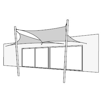 Quadrat & Dreieckiger Sonnenschirme; Wandmontage