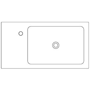 Profondità 42,8 cm_ invaso a destra, 1 foro