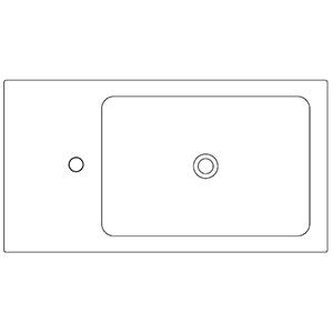 Profondità 42,8 cm_ invaso a destra, 1 foro centrale