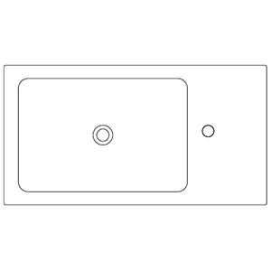 Profondità 42,8 cm_ invaso a sinistra, 1 foro centrale