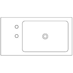 Profondità 42,8 cm_ invaso a destra, 2 fori