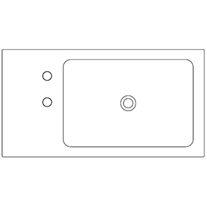 Dept 42,8 cm_ right basin, 2 holes