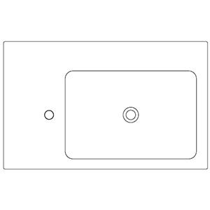 Profondità 50 cm_ invaso a destra, 1 foro centrale