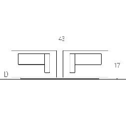 L. 43 x P. 17 - sp. 3 cm (2 LED) ROTATION SYSTEM