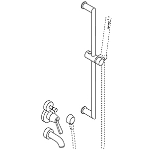 Single lever, with water mains connection and sliding bar for handheld shower