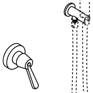 Mit Handbrausenhalter und Wasseranschluß