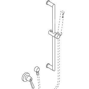 Mit Gleitstange für Handbrause und Wasseranschluß