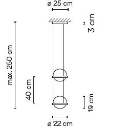 3726_ ø 22 cm x H 40 cm - Hmax 250 cm - 4 LED