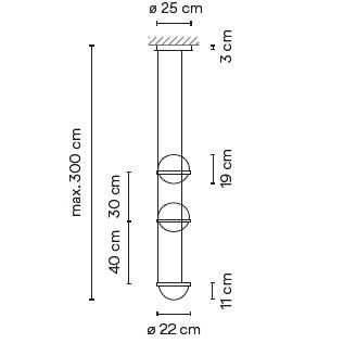 3728_ ø 22 cm x H 70 cm - Hmax 300 cm - 4 LED