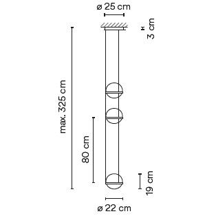 3728_ ø 22 cm x H 80 cm - Hmax 325 cm - 6 LED