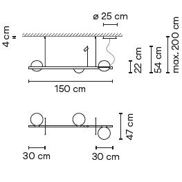 3734_ 150 x 47 x H 54 - Hmax 200 cm