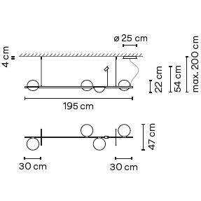 3736_ 195 x 47 x H 54 - Hmax 200 cm
