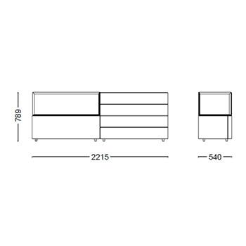 Hub 17_ 221.5 x 54 x H 78.9 cm