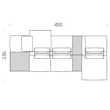 Mosaïque H_450 x 230 x H 61 cm