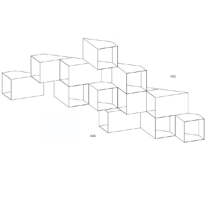 Cellula 5_346 x H 140 cm ( 12 Module )