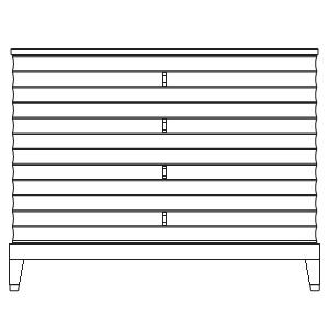 110 x 57 x H 86 (4 drawers)