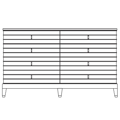 144 x 57 x H 86 (8 drawers)