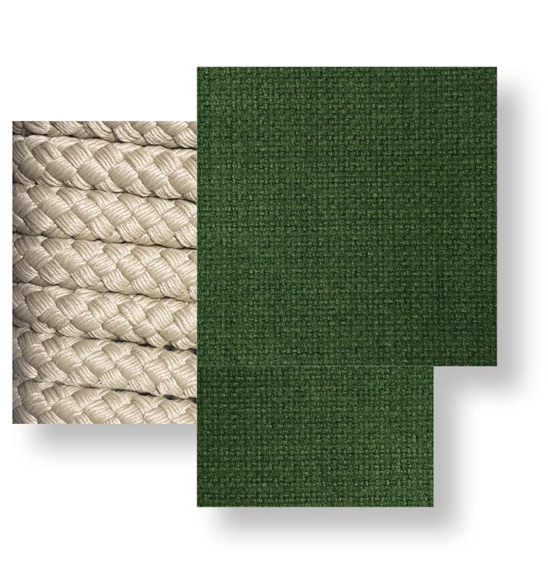 Cliff _ Rope beige, green cushion