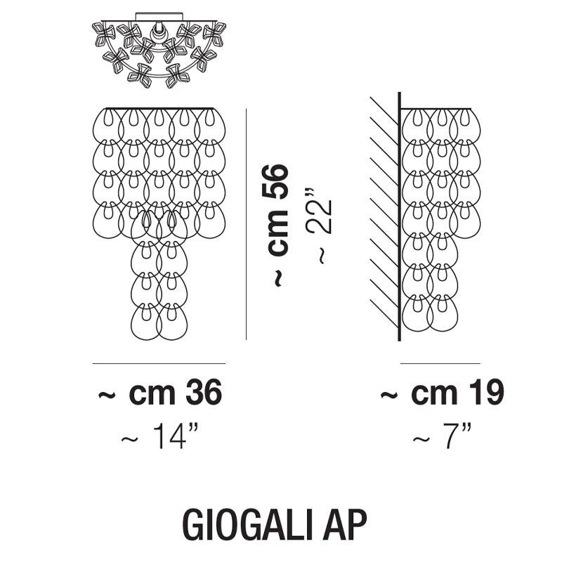 GIOGALI AP_  Ø 36 cm x 19 x H 56 cm