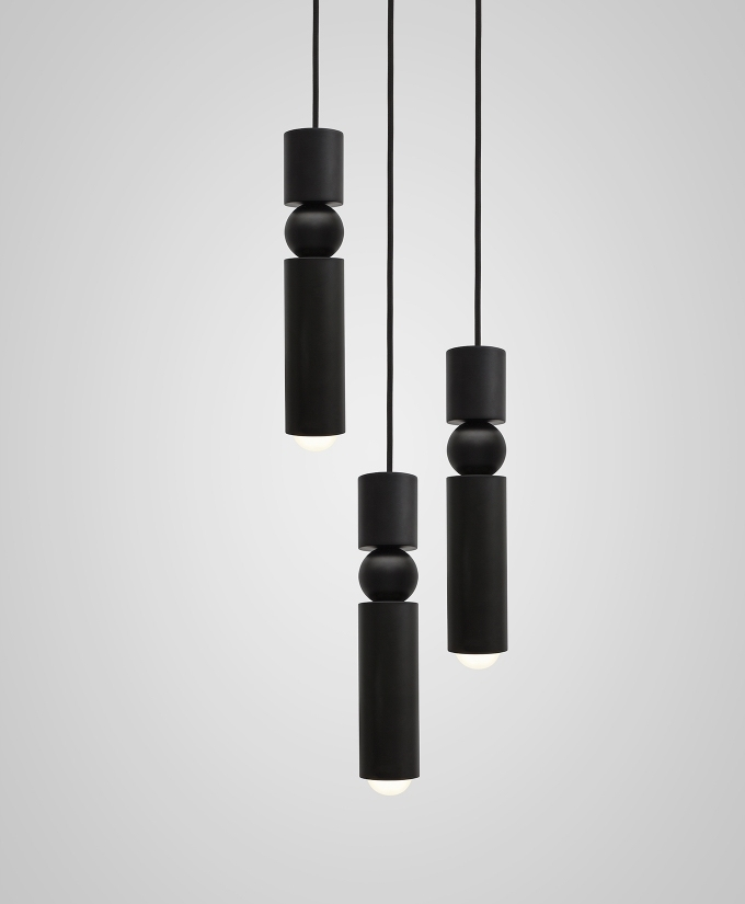 Fulcrum Black Chandelier 3 Tier