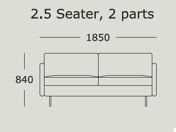 Nova v1 2,5 Seater 2 Cushions_ 185 x H 84 cm