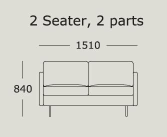 Nova v1 2 Seater 2 Cushions_ 151 x H 84 cm