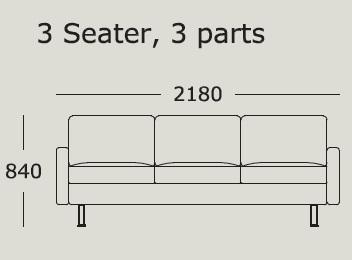 Nova v2 3 Seater 3 Cushions_ 218 x H 84 cm