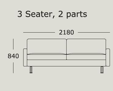 Nova v2 3 Seater 2 Cushions_ 218 x H 84 cm