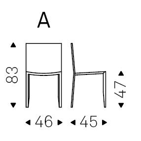 46 x 45 x H 83 cm