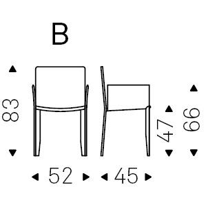 52 x 45 x H 83 cm