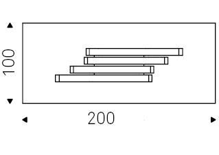 200 x 100 x H 75 cm
