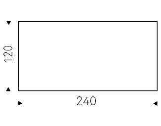 240 x 120 x H 74,5 cm
