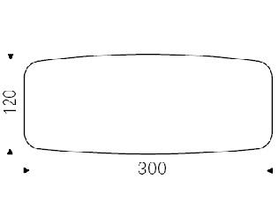 300 x 120 x H 74,5 cm Sag