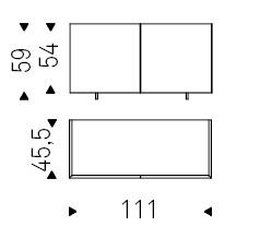 111 x 45,5 x H 59 cm