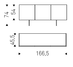 166,5 x 45,5 x H 74 cm
