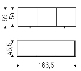 166,5 x 45,5 x H 59 cm