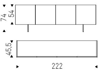 222 x 45,5 x H 74 cm