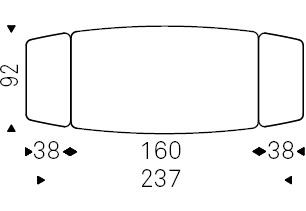 Linus_ 160-237 x 92 x H 75 cm Sag