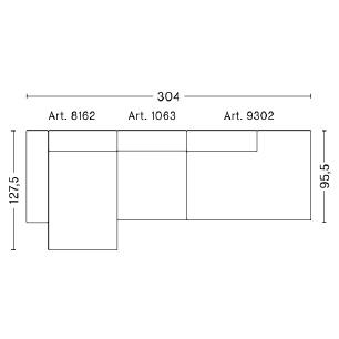 Mags 3 L_ 304 x 127.5 x H 67 cm