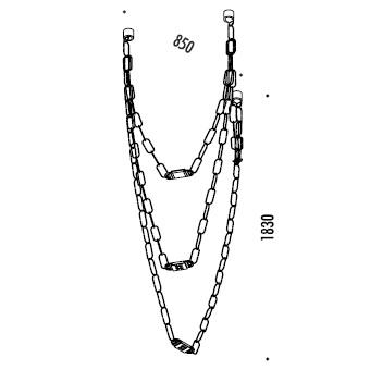 ChainDelier 2-3_ 85 x H 183 cm