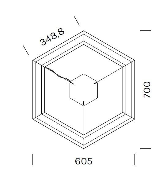 Exagon 9710_ 60.5 x 70 x H 6.1 cm
