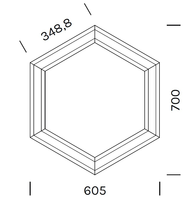 Exagon 9720_ 60.5 x 70 x H 6.1 cm