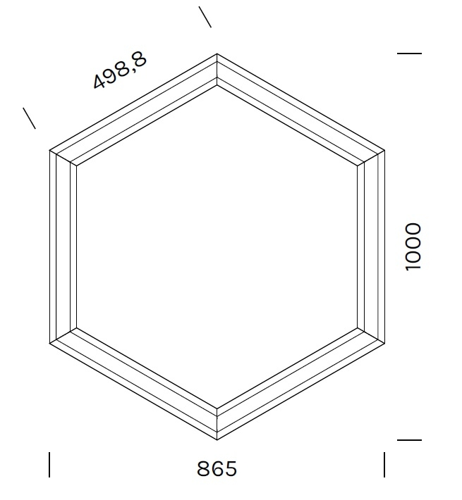 Exagon 9721_ 86.5 x 100 x H 6.1 cm