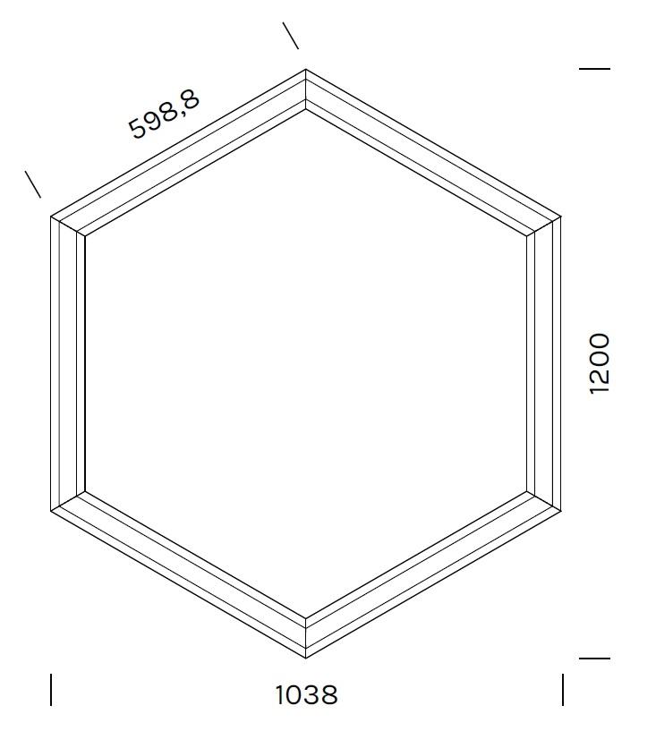 Exagon 9722_ 103.8 x 120 x H 6.1 cm
