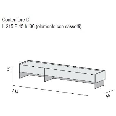 Contenitore D_ 215 x 45 x H 36 cm